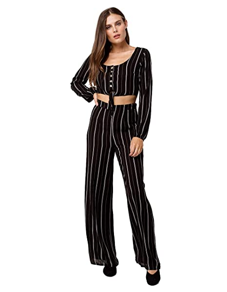 980b0bdb5f567 Image Unavailable. Image not available for. Color  Sky and Sparrow Stripe  Button Tie Front Crop Top and Pants Set ...