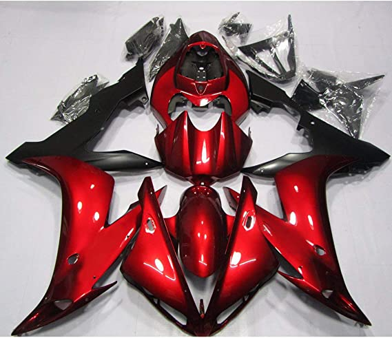 2000-2001 ZXMOTO Deep Red /& Black Painted With Graphic Fairing Kit for Yamaha YZF R1
