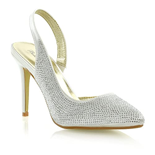 e7639d77e193 ESSEX GLAM Womens Bridal Shoes Satin Diamante Ladies Slingback Party Prom  Point Toe Courts (UK
