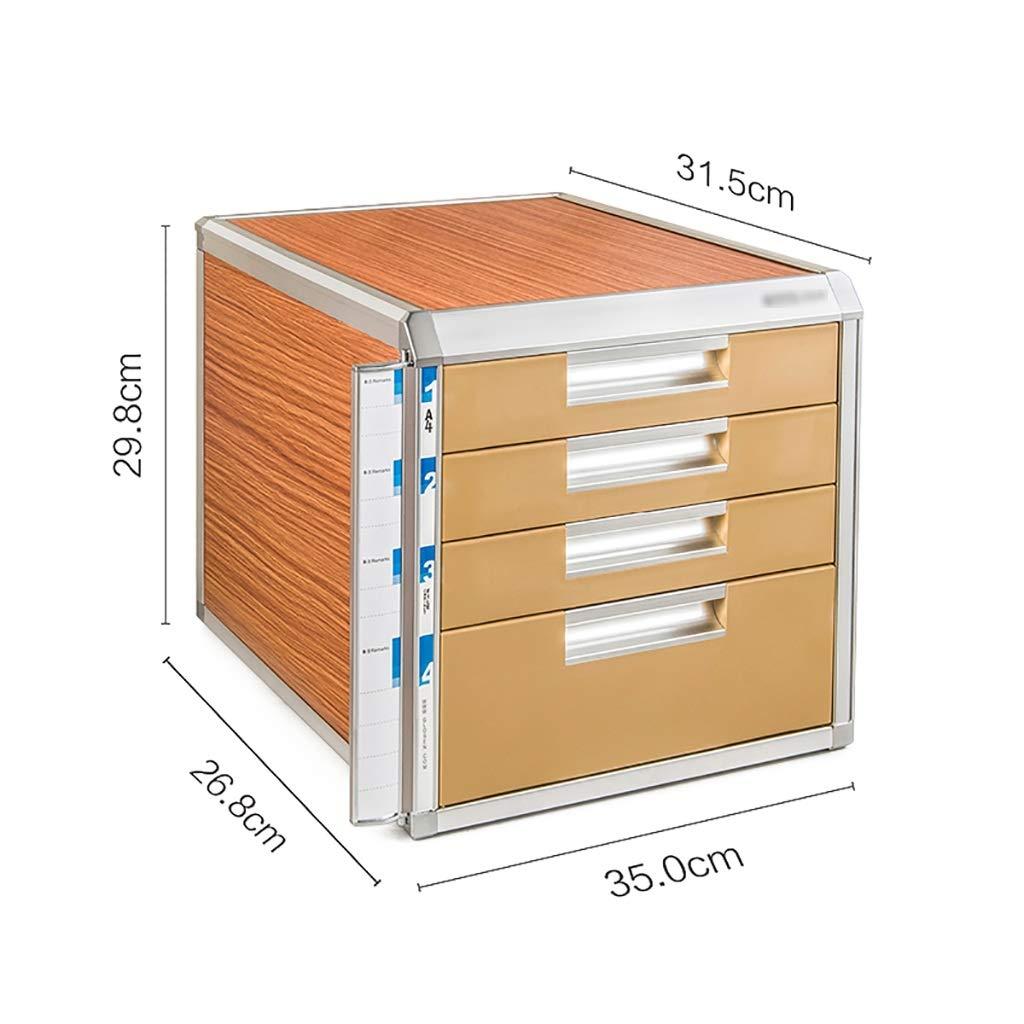 File Cabinet, Desktop Extended Drawer Office Organizer (Wood Board/Aluminum Alloy/Plastic) 35x31.5x29.8cm