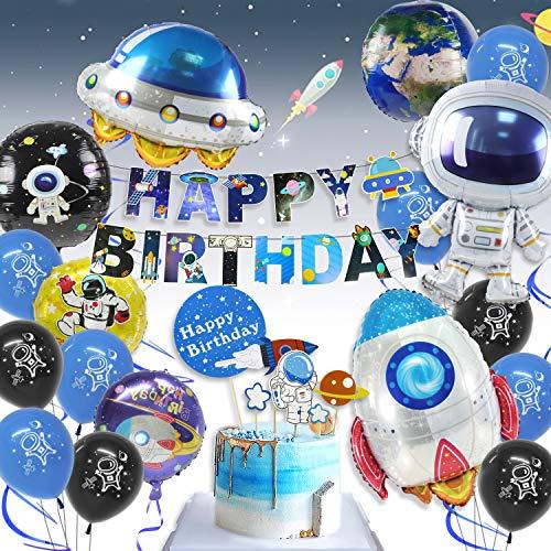 Pushingbest Decoraciones Cumpleanos, Decoraciones de Fiesta tematicas del Espacio Exterior, Globos espaciales de Astronautas con 4D Globos, Happy Birthday Pancarta Colgar Remolino