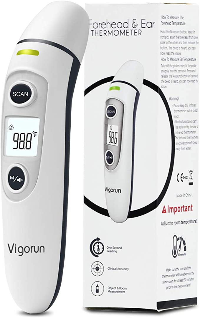 Amazon.com: 【New Version】Vigorun Medical Forehead and Ear Thermometer, Digital Infrared Temporal Thermometer for Fever, Instant Accurate Reading for Baby Kids and Adults Baby and Adults: Health & Personal Care