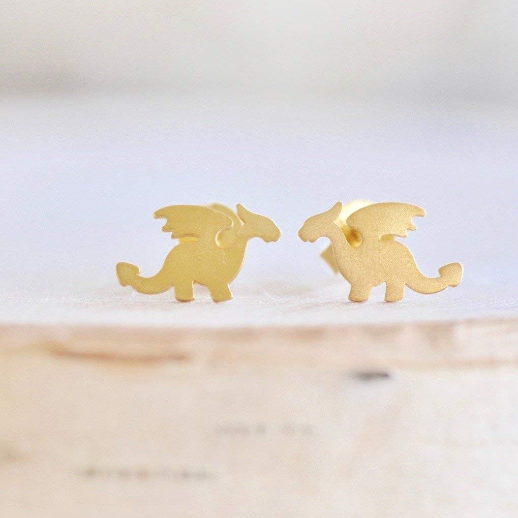 Dragon Stud Earrings in Sterling Silver 925 with Gold Finish
