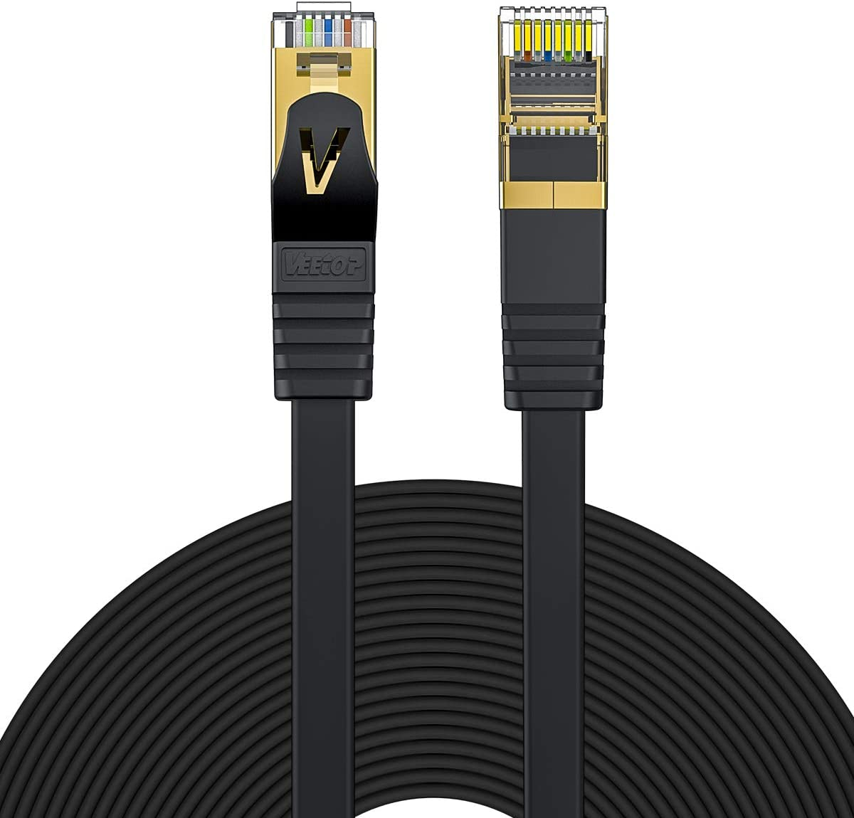 Cat7 Ethernet Cable,Veetop 164ft/50m Cat 7 Network Cable High Speed 10 Gbps Internet Cord Flat Ethernet Wire with Shielded RJ45 Connectors for Computer Laptop Router Modem Switch Box