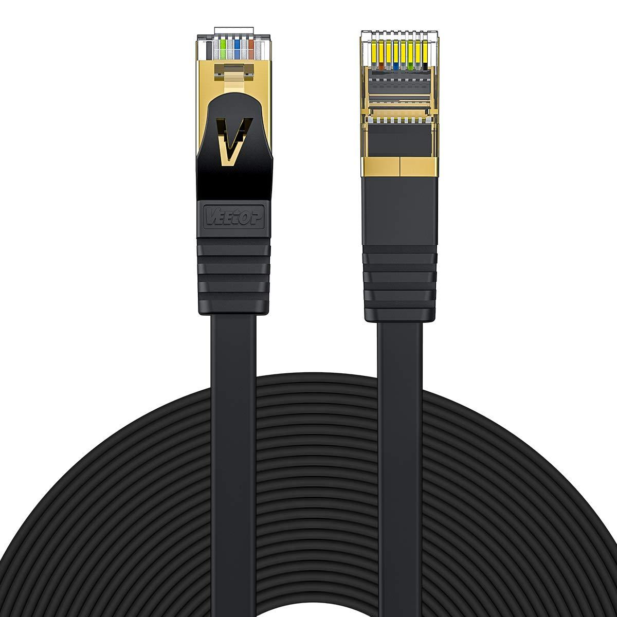 flaches 10Gbps Netzwerkkabel mit vergoldetem RJ45 5m Wei/ß Veetop Cat7 Lankabel