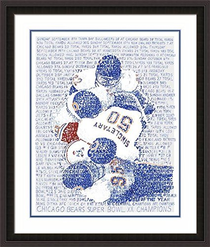 """1985 Chicago Bears Word Art Poster Print (Double Matte + Frame) - Handwritten with Every Game Score - 22""""x26"""" - Bears Decor - Chicago Bears Wall Art - Great Gift …"""