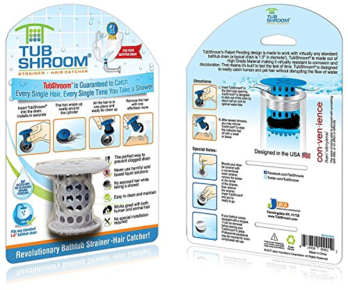 TubShroom the Revolutionary Tub Drain Protector Hair Catcher/Strainer/Snare, Gray