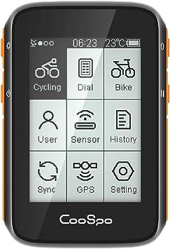 CooSpo Ciclocomputador inalámbrico, con GPS, función ANT+, cuentakilómetros para bicicleta, inalámbrico, resistente al agua IP67, cuentakilómetros ...