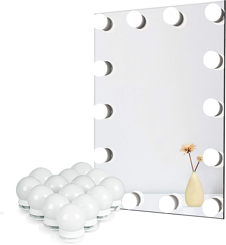 Amazon Com Waneway Vanity Lights For Mirror Diy Hollywood Lighted Makeup Vanity Mirror Dimmable Lights Stick On Led Mirror Light Kit For Vanity Set Plug In Makeup Light For Bathroom Wall Mirror 14 Bulb