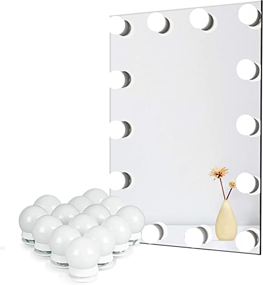 Amazon Com Waneway Vanity Lights For Mirror Diy Hollywood Lighted Makeup Vanity Mirror Dimmable Lights Stick On Led Mirror Light Kit For Vanity Set Plug In Makeup Light For Bathroom Wall Mirror 14 Bulb