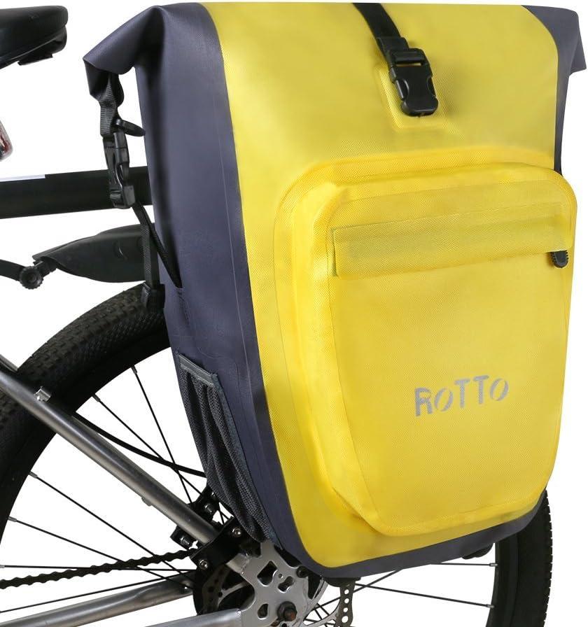 ROTTO Alforjas Bicicleta Bolso Bici Trasero Fácil Lanzamiento Impermeable 27 litros (B-Amarilloo-Soltero): Amazon.es: Deportes y aire libre