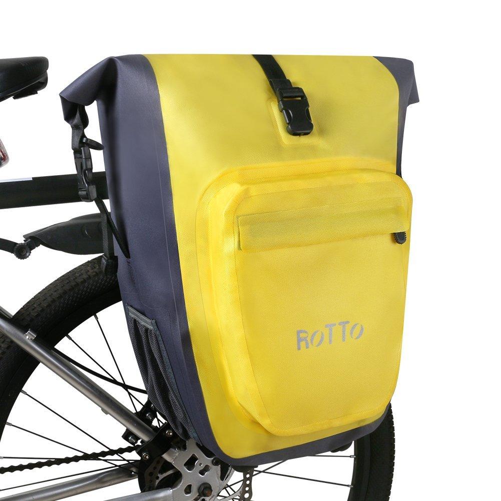 ROTTO Alforjas Bicicleta Bolso Bici Trasero Fácil Lanzamiento Impermeable 27 litros (D-Amarilloo-Par): Amazon.es: Deportes y aire libre