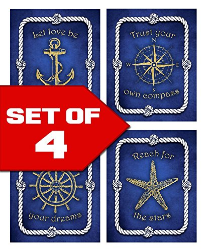 Wallables Blue Nautical Wall Art, Set of Four 8x10 Prints, Anchor, Compass, Wheel, Starfish. Perfect for home, office, business. Designed exclusively for