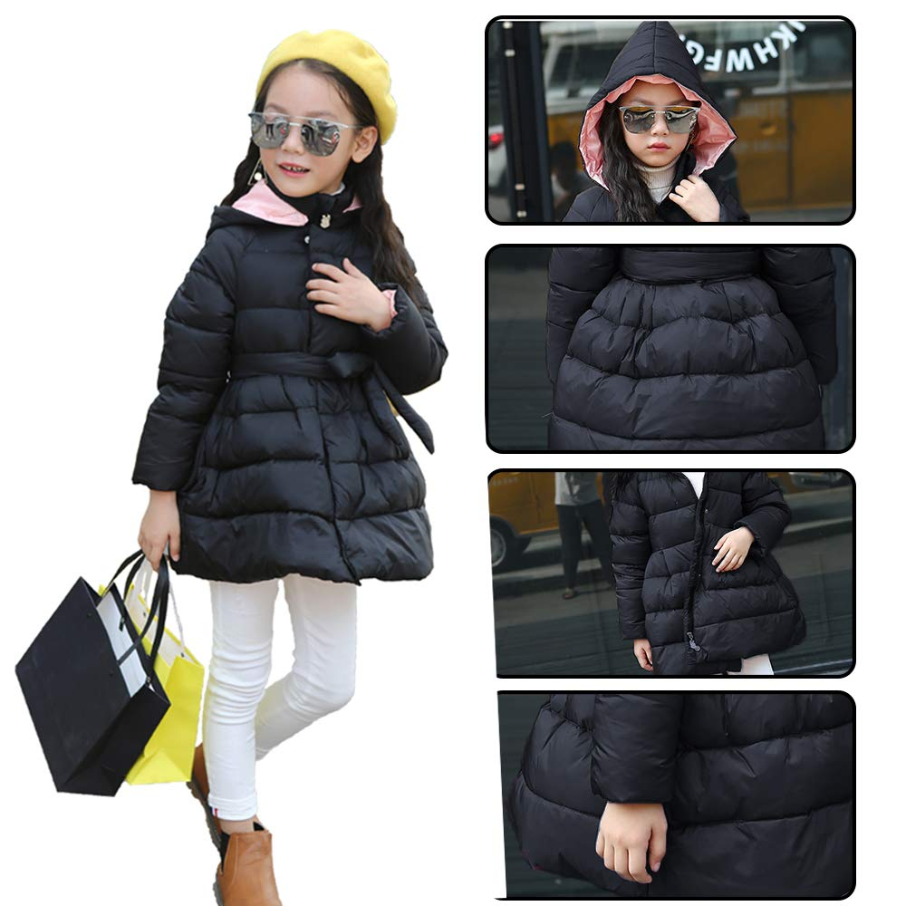 EFZQ Girls Winter Down Hooded Jacket