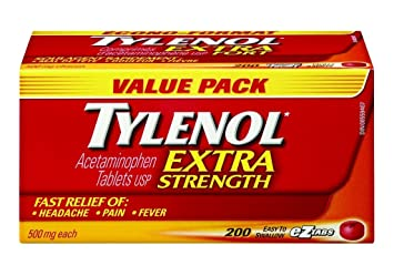 Tylenol Extra Strength Value Pack 200 tablets Easy to Swallow 500mg each