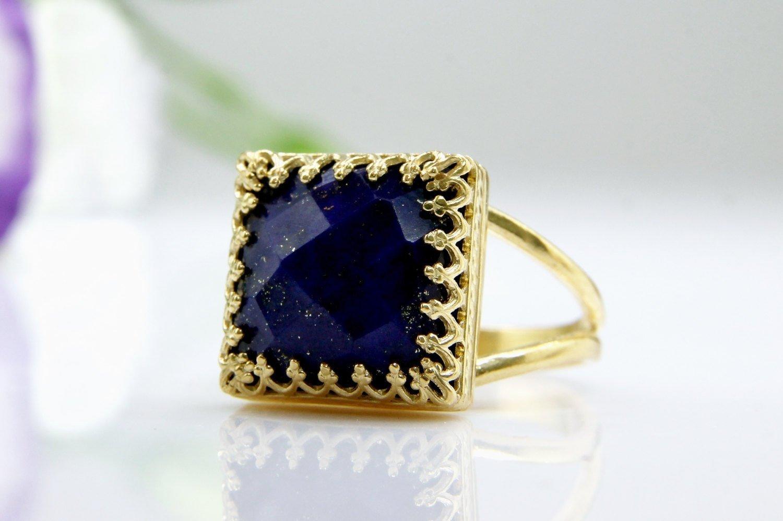 Lapis gold ring,September birthstone,Lapis Lazuli ring,square ring,gemstone ring