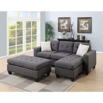 Surprising Amazon Com Benzara Sectional Sofa With Ottoman And Pillows Machost Co Dining Chair Design Ideas Machostcouk