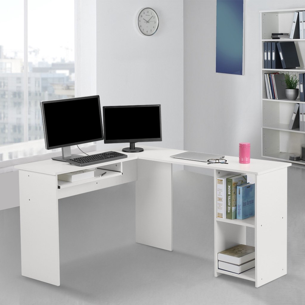 LANGRIA Modern L-Shaped Computer Desk Corner PC Latop Study Table Workstation Home Office with Mute Sliding Keyboard Tray and 2-Bookshelf Corner Table, White
