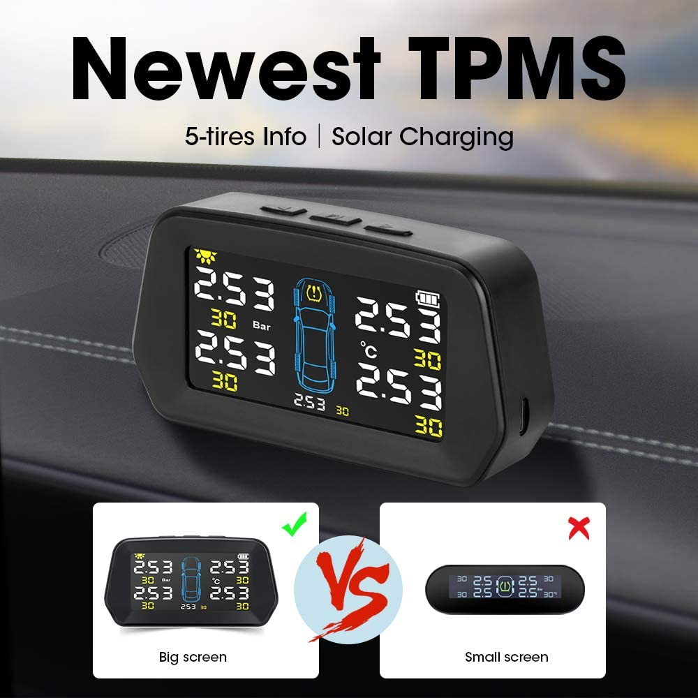 5 External Sensors Wireless Tire Pressure Monitoring System Universal TPMS with Big Screen and 6 Alarm Modes Solar Power Charge Real-Time Display Tires Pressure and Temperature 22-87 Psi by Jansite