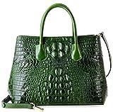 PIFUREN Women's Crocodile Embossed Handbags Genuine Leather Top Handle Purses E72110(Big Size, Green)