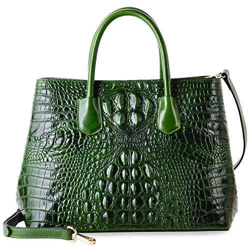 PIFUREN Women's Crocodile Embossed Handbags Genuine Leather Top Handle Purses E72110(Big Size, Green) by PIFUREN (Image #1)