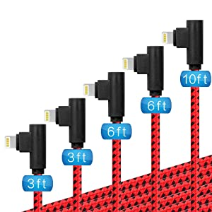 Lightning Cable 90 Degree, (3/3/6/6/10FT) 5 Pack iPhone Cable Cord Fast Charging &Data Cable Nylon Braided Compatible with iPhone12/11/ Pro/Max/X/XS/XR/XS Max/ 8/ Plus/7/7 Plus/6/6S/6 Plus (Red Black)