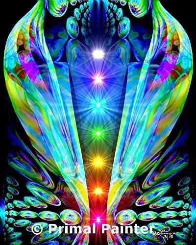 Chakra Art, Rainbow Wall Decor, Meditation Room Original Art Print, ''Emergence'' by Primal Painter