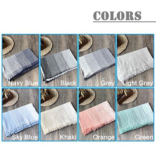 Kalevel Large Scarf Shawl Wrap Cotton Shawls and Wraps with Fringe - Dark Grey by Kalevel (Image #6)