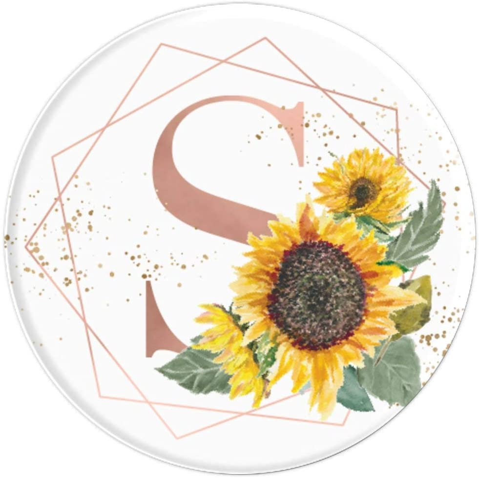 Sunflowers Yellow Flowers Pink White Monogram letter S PopSockets Grip and Stand for Phones and Tablets