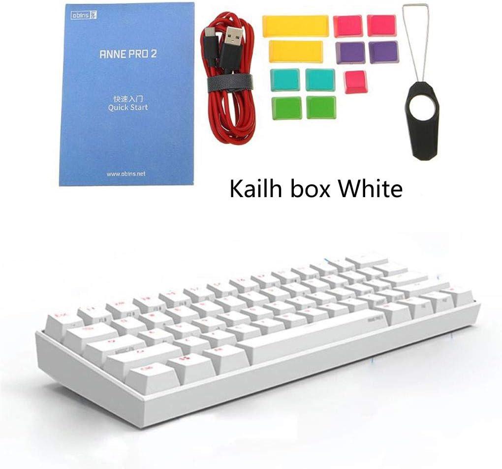 Mi Tu 60% ANSI Teclado mecánico NKRO, teclado para juegos RGB Kailh Box Switch, Bluetooth 4.0 Tipo C Modo dual (Kailh box blanco, blanco)