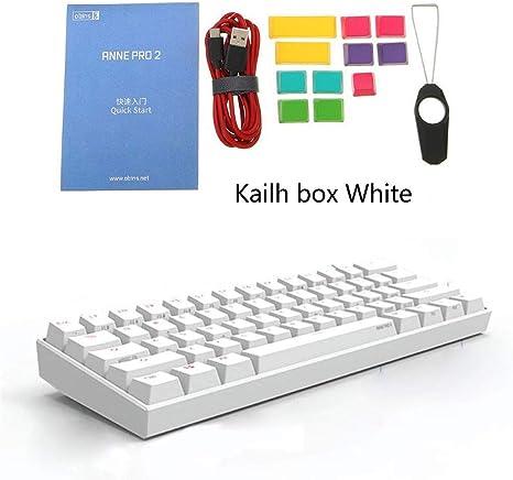 Mi Tu 60% ANSI Teclado mecánico NKRO, Teclado Gaming RGB Kailh Box Switch, Bluetooth 4.0 Tipo C Dual Mode, blanco, Kailh box white: Amazon.es: Electrónica