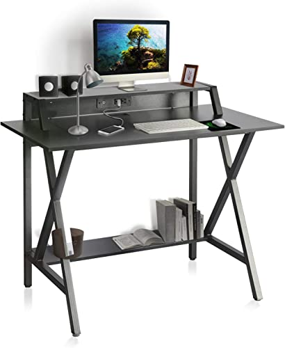 R-Shaped Black Gaming Desk 41 inch