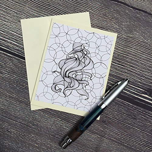 (Betta Spawn - Fish Inspired Ink Drawing Art Print - Ivory Note Card)