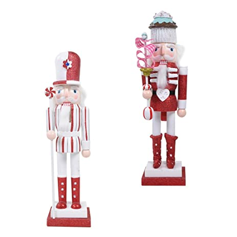 dovewill 2x wooden nutcracker soldier christmas decoration ornaments xmas toys gifts