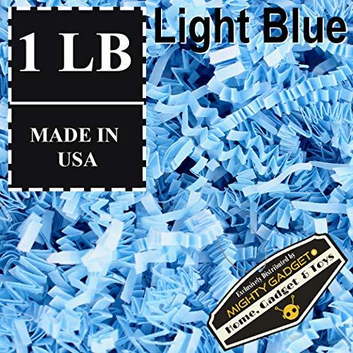 Blue Gift Basket (Mighty Gadget (R) 1 LB Light Blue Crinkle Cut Paper Shred Filler for Gift Wrapping & Basket Filling)