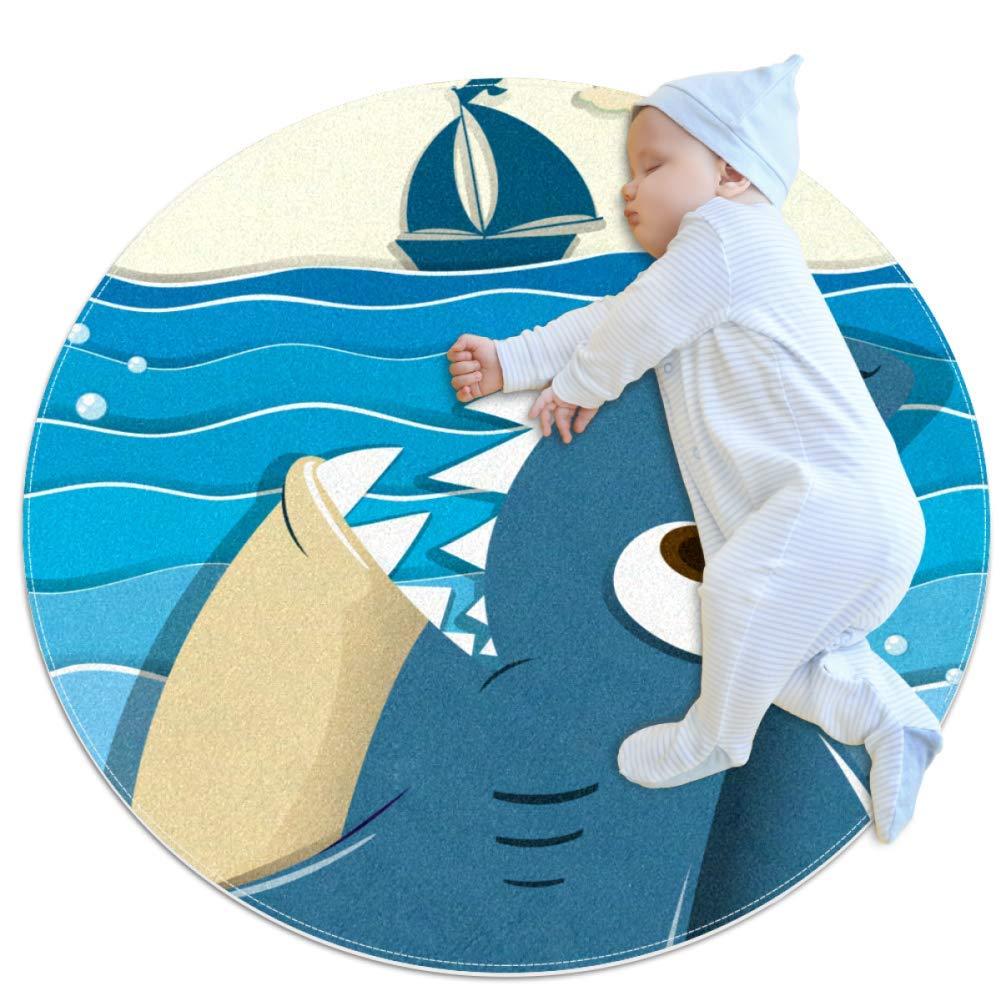 Xingruyun Sea Shark Boat Alfombrilla Redonda Suave para habitaci/ón de ni/ños habitaci/ón de beb/é decoraci/ón del hogar para Dormitorio ba/ño Sala de Estar Alfombra para Mascotas 70x70cm