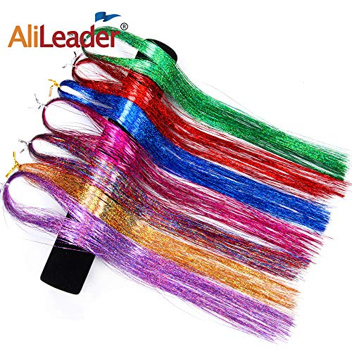 AliLeader 35'' Hair Tinsel 700 Strands 7 Colors Sparkling & Shiny Hair Tinsel Extensions Colored Party Highlights Glitter Extensions Multi-Colors Hair Streak Bling Hairpieces