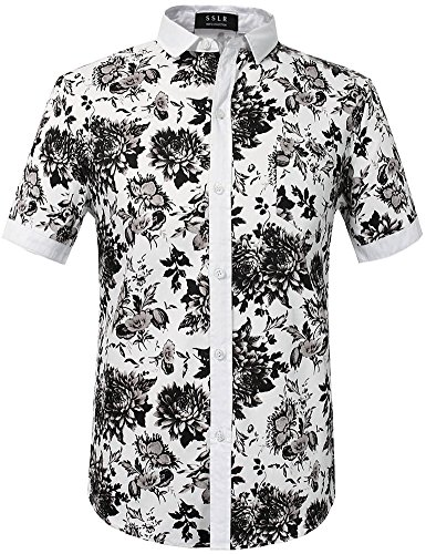 SSLR Men's Cotton Button Down Short Sleeve Hawaiian Shirt (Large, White ()