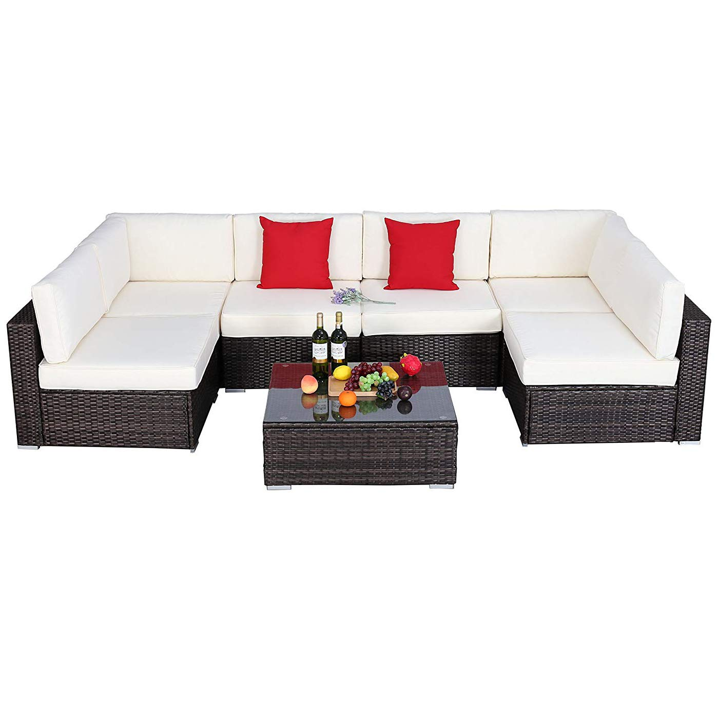 OC Orange-Casual 3 Piece Patio Wicker Outdoor Furniture Set, Rattan Conversation Set, Space Saving, for Garden, Lawn, Balcony