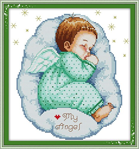 Benway Stamped Cross Stitch Asleep Angel Baby Boy 11count 33