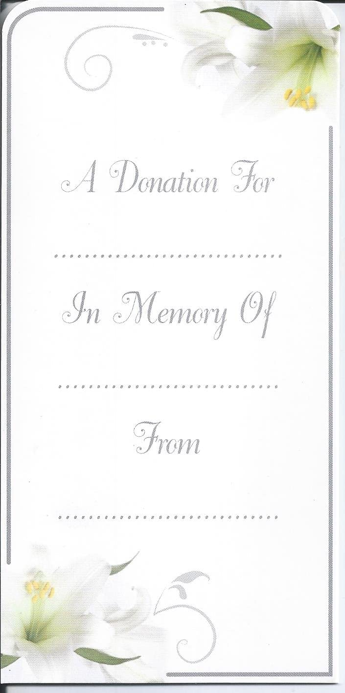 """/""""A Donation/"""" Tri-Fold Money Wallet Card And Envelope Funeral//Memorial"""