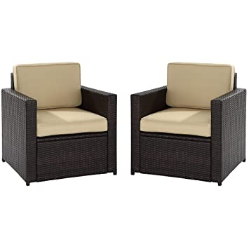 Crosley Furniture Palm Harbor 2 Piece Outdoor Wicker Seating Set   Brown
