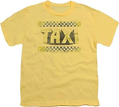 Taxi Neumático Serie de TV Comedia Comedia de Situación de 1980 Pistas de Gran Logotipo Camiseta para Hombre Pequeño (Joven) Amarillo: Amazon.es: Ropa y accesorios