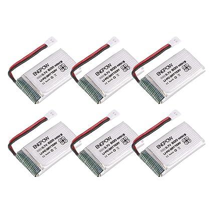 Zinniaya 6PCS Engpow 3.7V 600mAh 1S Batería de lipo Recargable ...