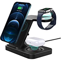 Wireless Charger ADDANY 15W Fast Wireless Charger Stand 3 IN 1 Charging Station Dock for Galaxy Watch 42/46mm;Apple…