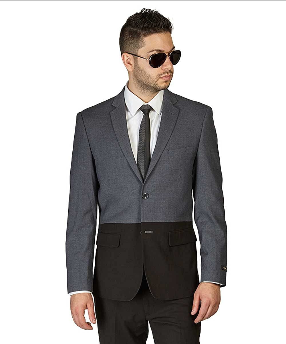 AZAR MAN Slim Fit 2 Button Sport Jacket Notch Lapel Modern Two Tone Dinner Blazer