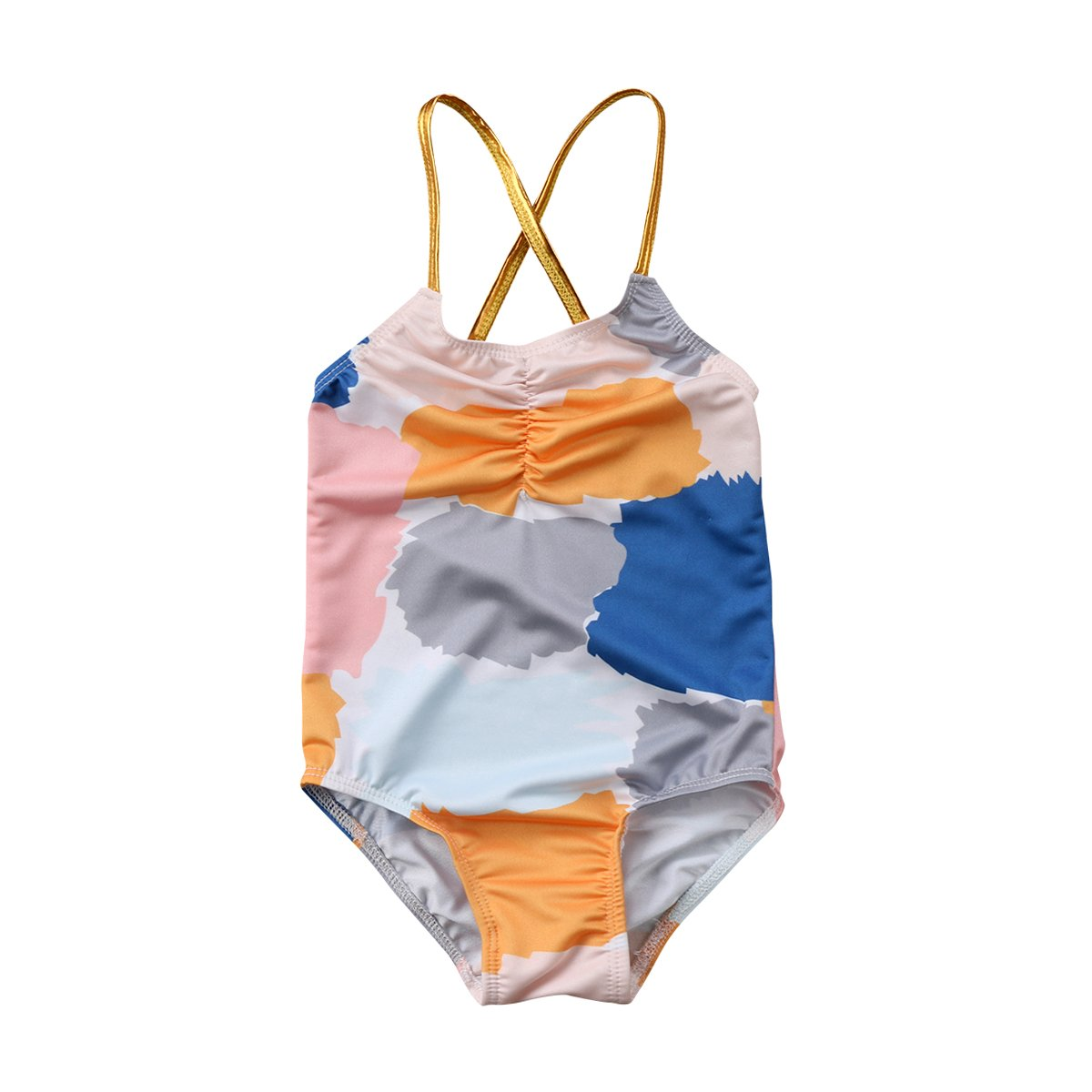 39b6cb2cd8246 Amazon.com: Baby Girl Colorful Swimsuit Rainbow Swimwear Gold Halter Bathing  Suit One-Piece Bikini Beach Wear: Clothing