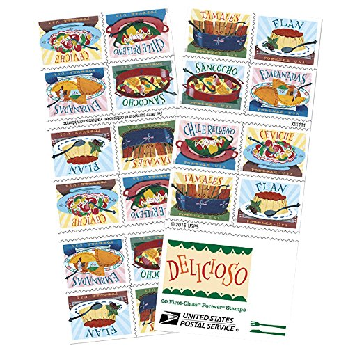 Delicioso Book of 20 USPS one-ounce rate Forever Postage Stamps Latin Food - Mail First Click Ship And Class