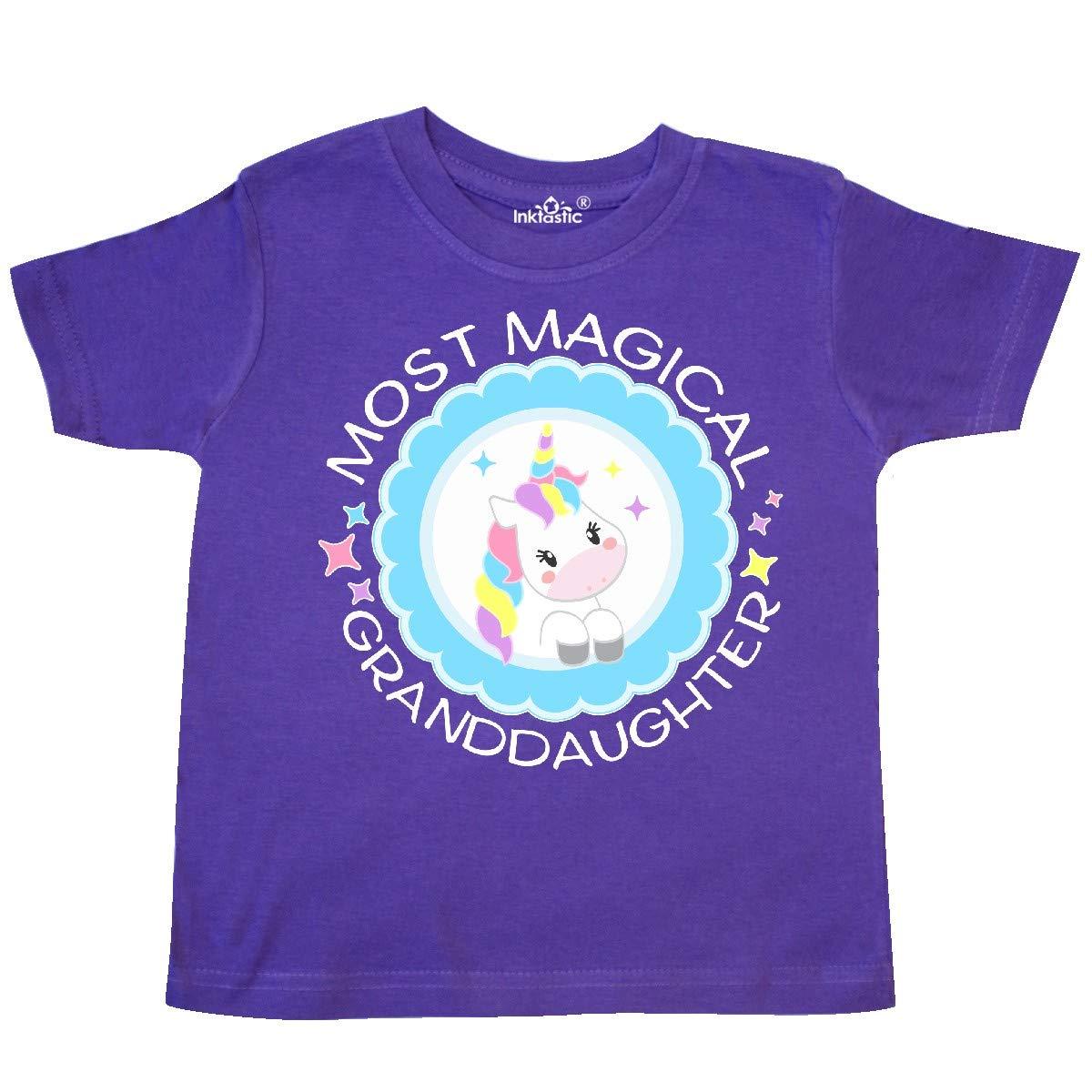 Cute Unicorn Badge Toddler T-Shirt inktastic Most Magical Granddaughter