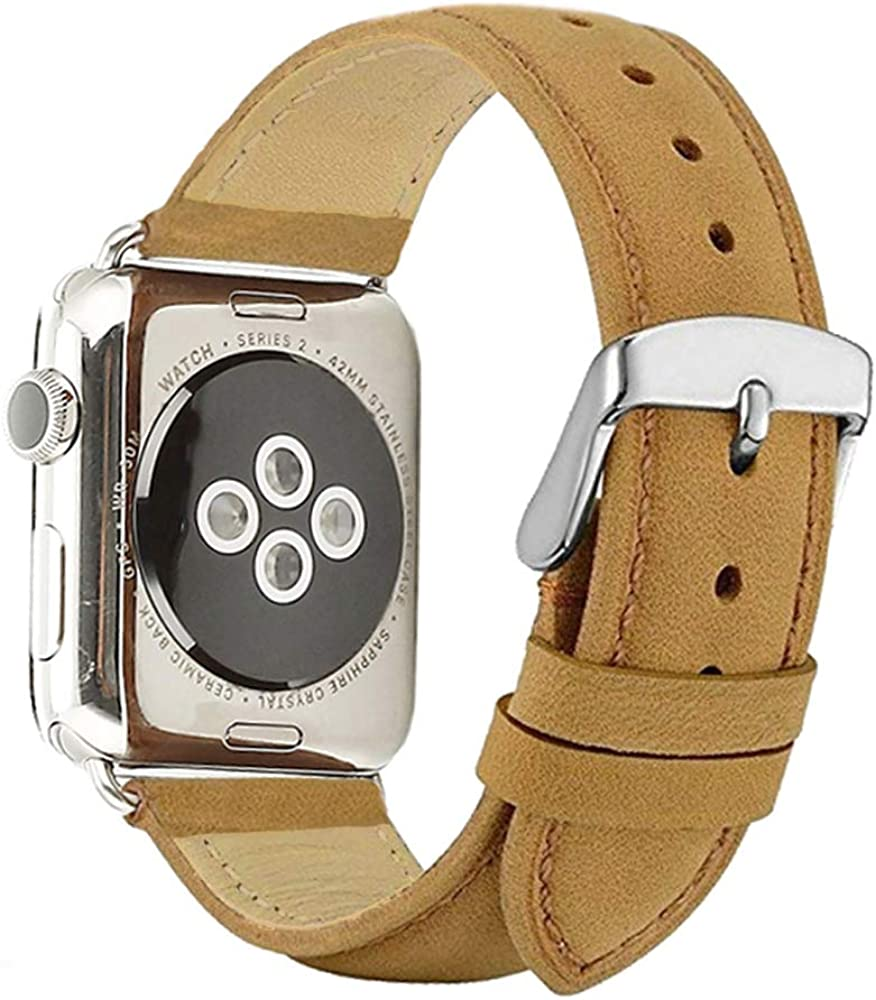 BATINY Compatible with Apple Watch Bands Leather 38mm 40mm for Men Replacement Strap Apple Watch Series 5 4 3 Classic Steel Buckle Genuine Leather Bands